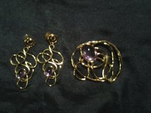 Purple & Gold Webbed Pin & Earrings in Eglin AFB, Florida