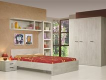 US Full Size Bed Action - Bed + Night Stand + Optimum Mattress + Box Frame + Delivery & Set-Up in Stuttgart, GE