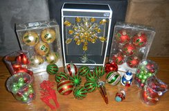 Christmas Tree Ornament & Lighted Topper Lot Gold Red Green Glass Sparkle in Kingwood, Texas