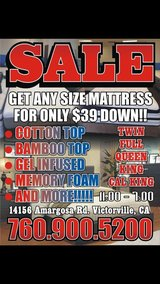 OVER STOCK MATTRESS SALE!!!!! $39 DOWN!!!! in Fort Irwin, California