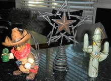 Metal Rustic Christmas Tree Topper & 2 Western Ornament Lot Armadillo & Cactus in Kingwood, Texas
