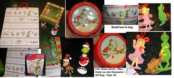 Dr. Seuss The Grinch That Stole Christmas Dept 56 Ornament Lot Gift Bag & Wallies in Kingwood, Texas