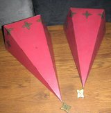 Large Metal Christmas Wall Sconce Lot Pair Set Red / Gold in Kingwood, Texas