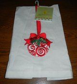 New White Linen Like Embroidered Christmas Ornament Hand Towel in Kingwood, Texas