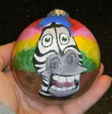 Marty Afro Circus Madagascar Hand Painted Glass Ball Christmas Ornament in Houston, Texas