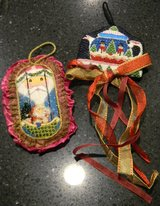 2 Vintage Needlepoint Christmas Ornament Lot Complete Santa and Snowman Teapot in Kingwood, Texas
