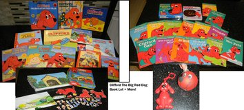 Clifford the Big Red Dog Book Lot Phonics + Ornament / Colorforms / Change Clip-On in Houston, Texas