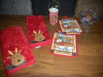 Christmas Reindeer Hand Towels Pot Holders Gift Can & Candy Dish in Kingwood, Texas