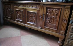 Antique Flemish Sideboard with Raised Carvings in Ramstein, Germany