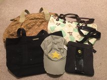 bags and new cap in Yucca Valley, California