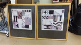 Set of 2 framed & matted geometrical pieces of art in Naperville, Illinois