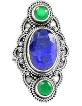 New - Sapphire Quartz and Emerald Quartz 925 Sterling Silver Ring - Size 7 in Alamogordo, New Mexico