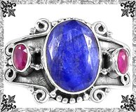 New - Blue Sapphire Quartz and Ruby Quartz Ring - Size 6 1/2 - 925 Sterling Silver in Alamogordo, New Mexico