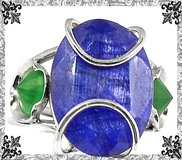 New - Blue Sapphire Quartz and Emerald Quartz Wire Wrap Ring - Size 7 - 925 Sterling Silver in Alamogordo, New Mexico
