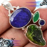 New - Sapphire Quartz, Emerald Rough and Emerald Quartz Pendant - 925 Sterling Silver (Includes ... in Alamogordo, New Mexico