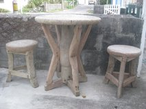 teak table & 2 stools in Okinawa, Japan
