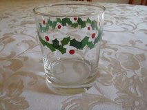 SET of 12, 6 each - Christmas glasses and plates - Holly pattern, clear glass in Lockport, Illinois