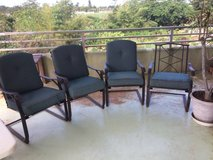 4 Outdoor Patio Chairs & Cushions (1 is missing a cushion). in Okinawa, Japan