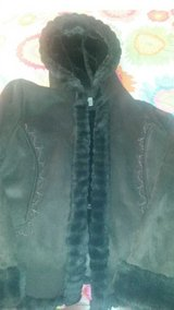 Chocolate brown coat - furry inside with hood, embroidered sides - never worn in Great Lakes, Illinois