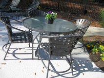 Glass & Aluminum Outdoor Patio Table & Four Chairs in Aiken, South Carolina