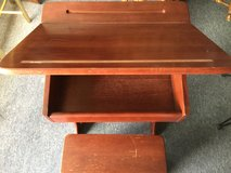 CHILDREN ALL WOOD WRITING DESK WITH SITTING STOOL. in Algonquin, Illinois