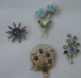 Collection of Four Vintage Ladies Pins - Colored Stones in Aiken, South Carolina