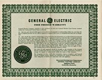 GE Food Freezer Warranty Certificate 1950's Mid Century Collectible Ephemera Wall Decor in Fort Campbell, Kentucky