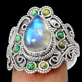 New - Moonstone & Fire Opal 925 Sterling Silver Ring - Size 8 1/2 in Alamogordo, New Mexico