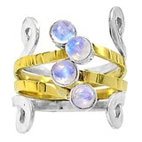 New - Two Tone - Moonstone 925 Silver Ring - Size 8 in Alamogordo, New Mexico