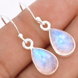 """New - Rainbow Moonstone 925 Sterling Silver 1 1/8"""" Earrings in Alamogordo, New Mexico"""