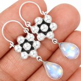 "New - Rainbow Moonstone 925 Sterling Silver 1 5/8"" Earrings in Alamogordo, New Mexico"