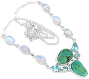 """New - 19g Blue Turquoise & Moonstone 925 Sterling Silver 19.8"""" Necklace in Alamogordo, New Mexico"""