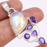 "New - Rainbow Moonstone & Amethyst 925 Sterling Silver 2"" Pendant (Includes chain) in Alamogordo, New Mexico"