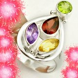 New - Garnet, Amethyst, Peridtot and Citrine 925 Sterling Silver Ring - Size 6 1/2 in Alamogordo, New Mexico