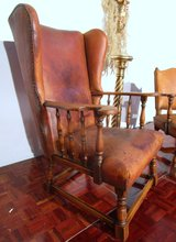 Antique Solid Oak Chair Wrapped in Real Leather in Ramstein, Germany