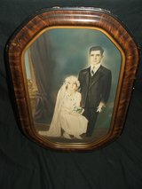 Antique Pastel Over Photo Wedding Portrait in Aurora, Illinois