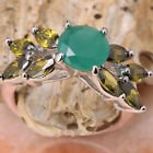 New - Green Quartz and Peridot Silver Ring - Size 9 in Alamogordo, New Mexico