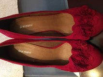 Red suede wedge shoes-beautiful! in Fort Campbell, Kentucky