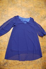 Sheer Blouse Arms sheer BLUE Super cute. Shorter a tad in front. Brand new Medium in Bolingbrook, Illinois