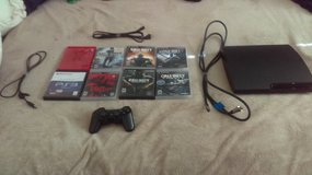 PS3, 8 foot HDMI cable, 8 games, controller with charger in Travis AFB, California