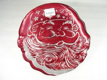 Red Santa Glass Cookie Plate Platter in Aurora, Illinois