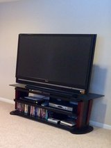 "60 "" SONY PROECTION HDTV WITH CHERRY WOOD & BLACK GLASS STAND in Elgin, Illinois"
