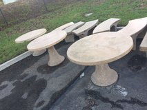 Concrete Tables and Bench Seats/Perfect for Storefront Seating in San Diego, California