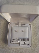 1/5 K  Prncss Diamond Earrings w/14K White Gold post. Brand New in Chicago, Illinois