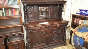 Green Man Carved Oak Mirrored Sideboard date approx 1880 Free Delivery in Lakenheath, UK