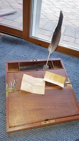 Antique lap desk wood with quills, Inkwell and notes in Naperville, Illinois
