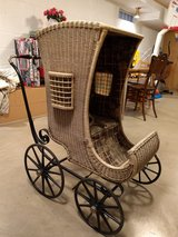 Antique Deluxe Wicker and Iron Baby Carriage/Buggy/Stroller.  Rare Gem! in Aurora, Illinois