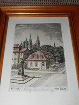 RARE Antique Block Print of Fulda in Stuttgart, GE
