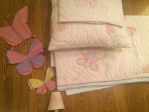Pottery Barn Kids Butterfly Bedding Set in Glendale Heights, Illinois