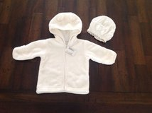 New with Tags Baby Girl Layette Long Sleeve Faux Fur Bear Hoodie/Jacket with Knit Beret in Elgin, Illinois